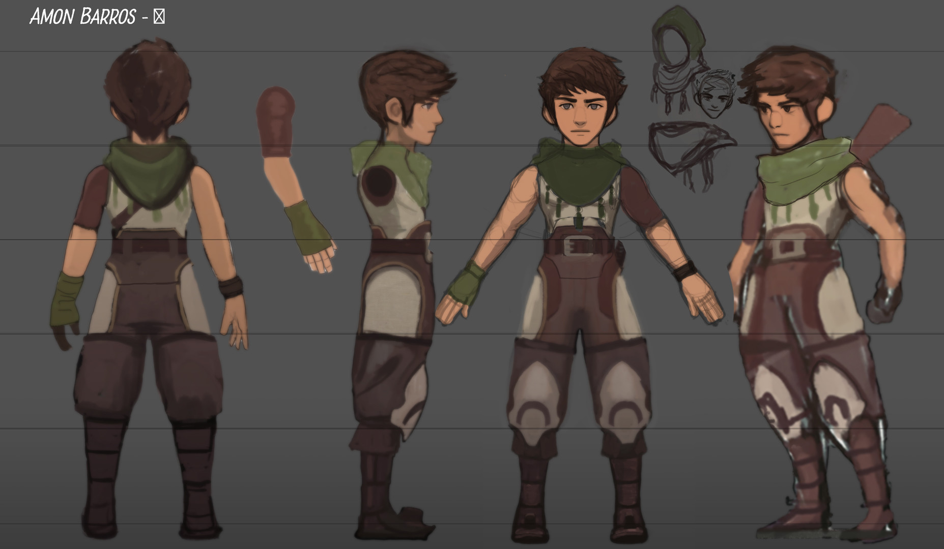 Character sheet for earlier version with more stylised proportions.