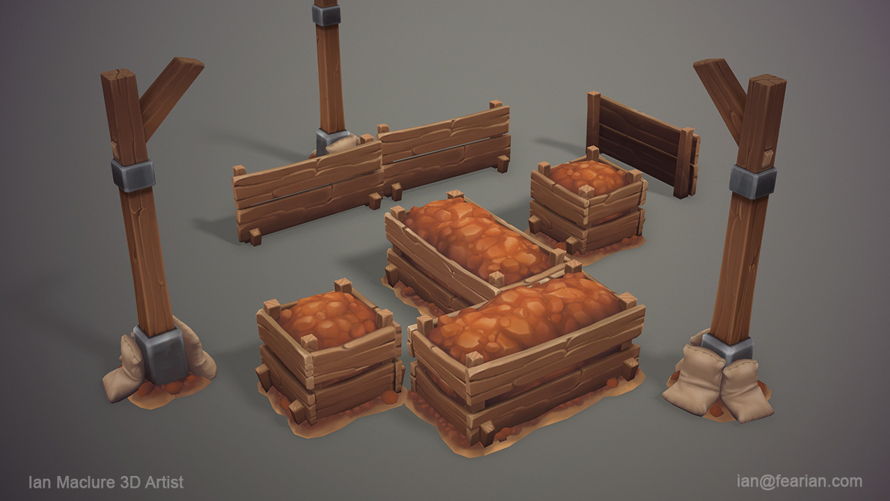 These where the completely new assets created for the Secret Mine. The barrels and crates where retextured from other levels of the game.