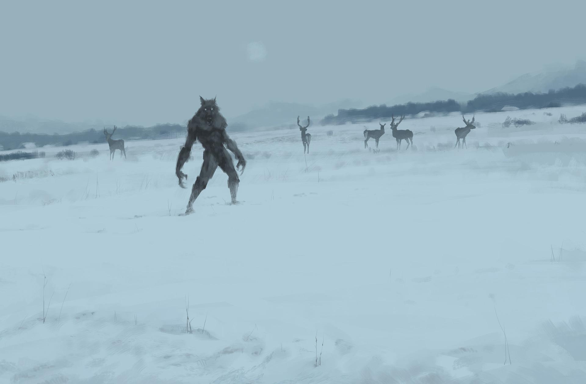 Jakub rozalski lonely wolf 1863