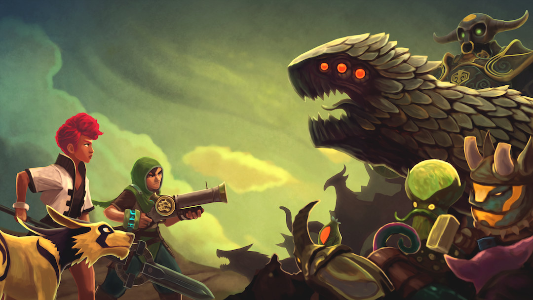 Promotional artwork showing our heroes facing a horde of monsters from the game.