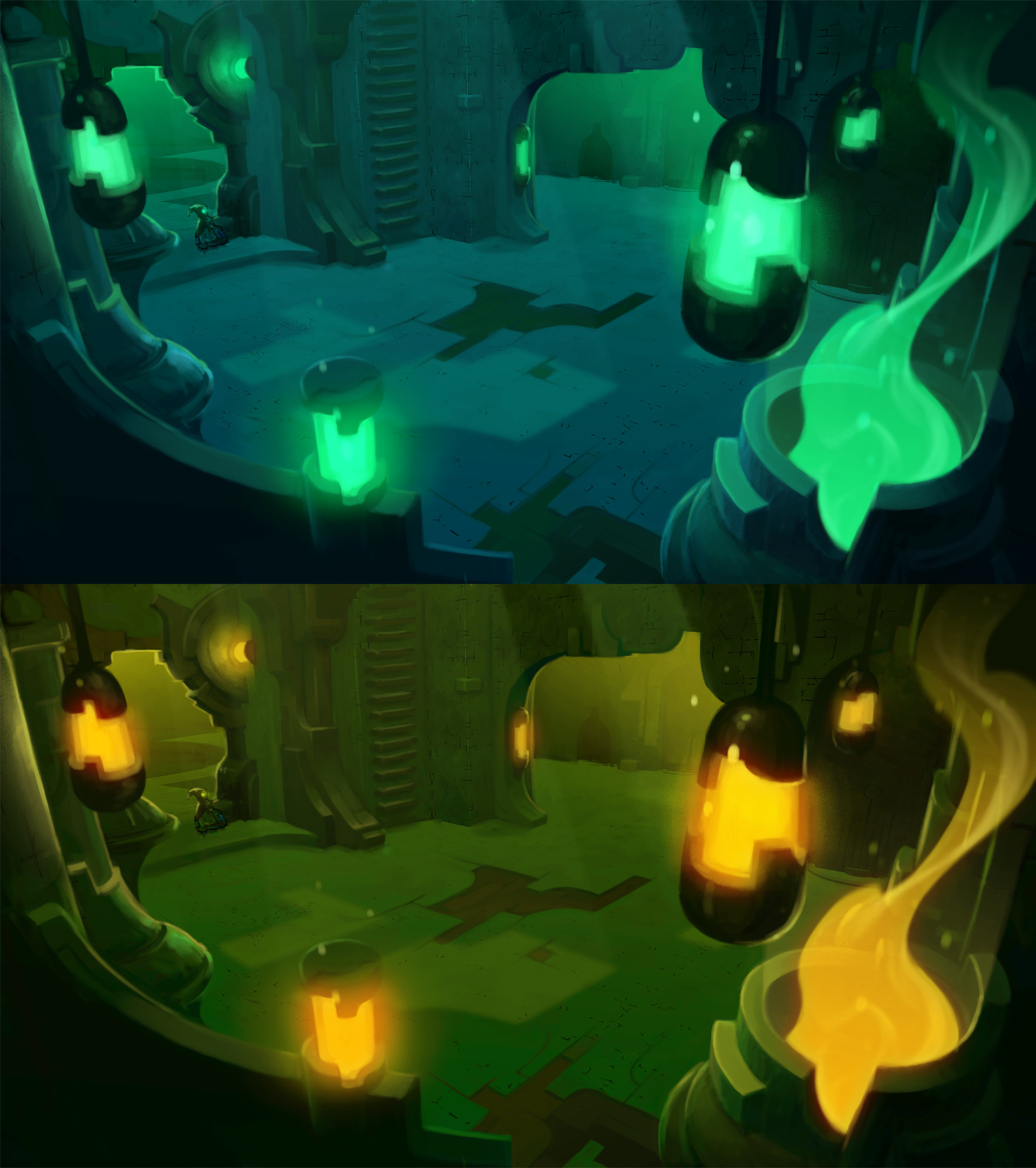 "Dungeon lighting/framing pass, ""on"" state  (painted over geo from Runic environment team)"