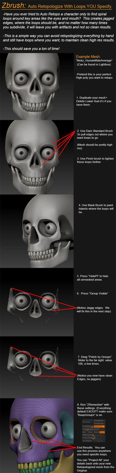 Auto Retopologize Tutorial with Specified Loops.