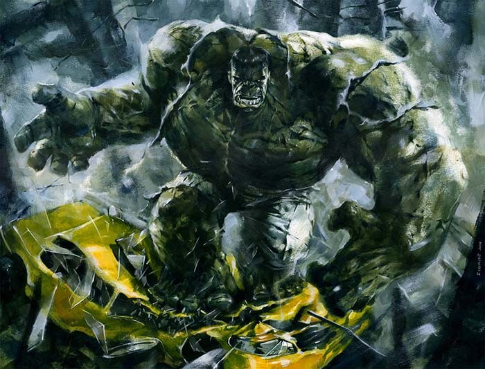 acrilyc painting on paper. Hulk2 préproduction.