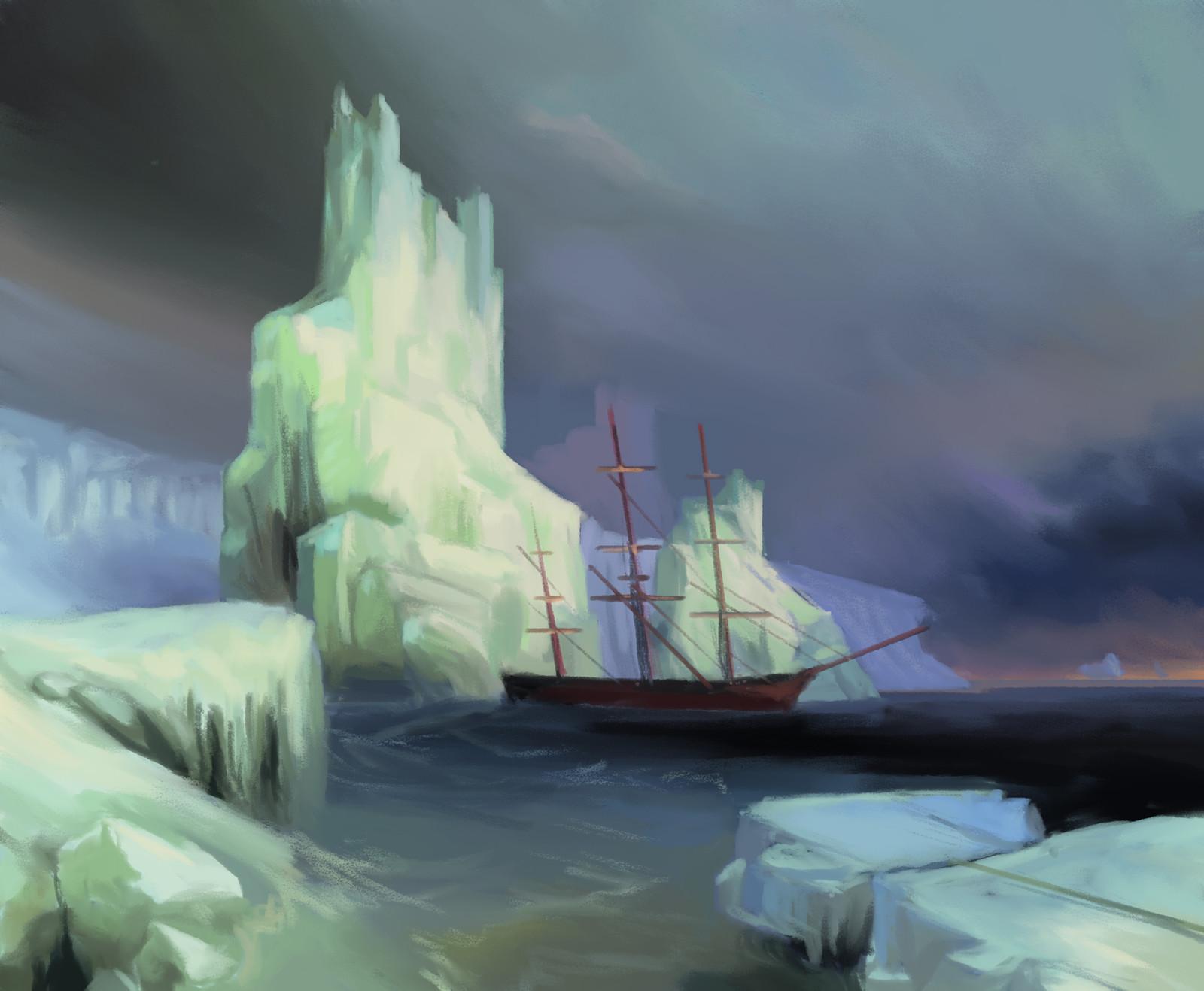 Ivan Aivazovsky: Icebergs In The Atlantic - Study