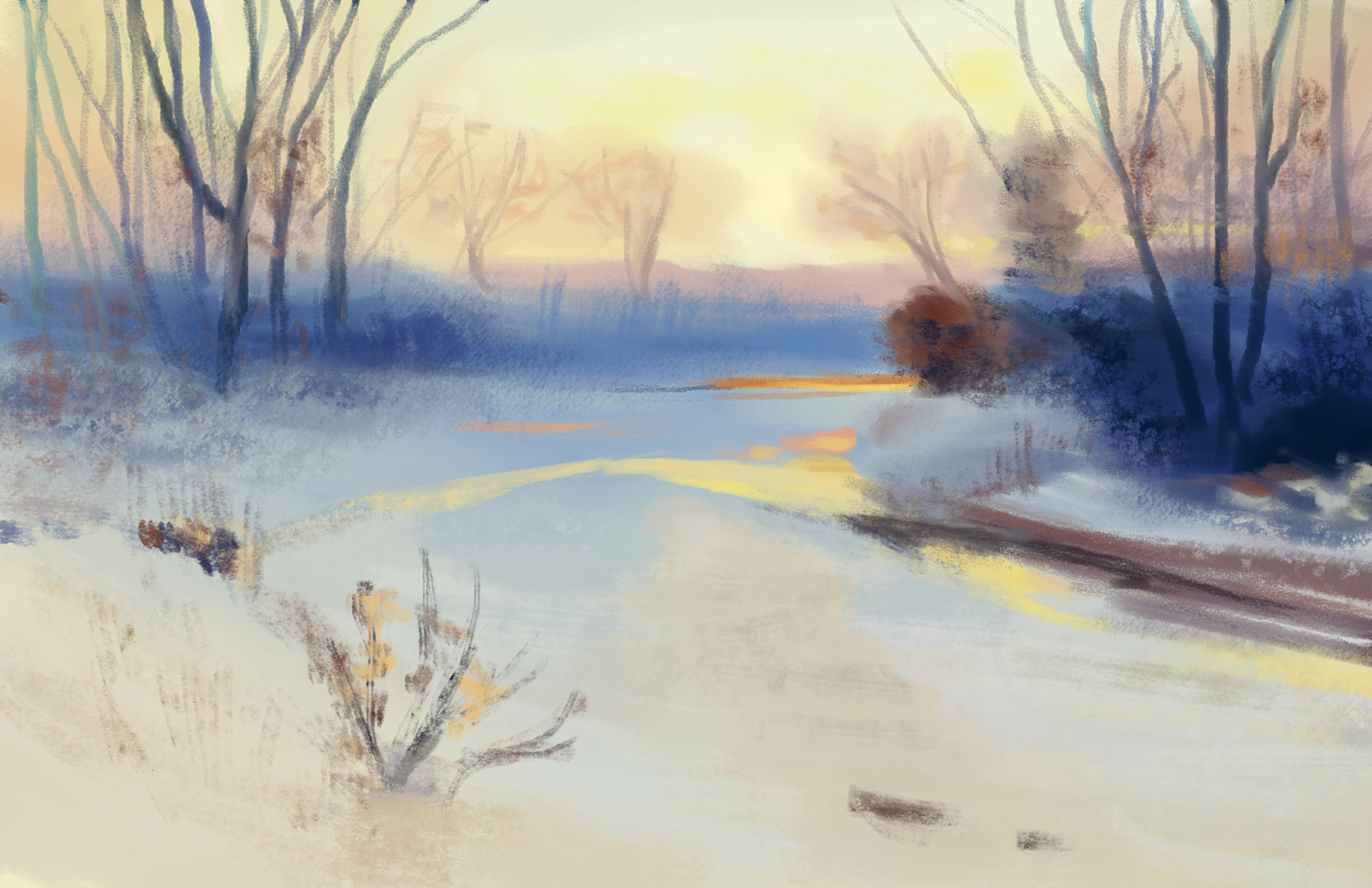 Charles Partridge Adams: Snowy Sunset - Study