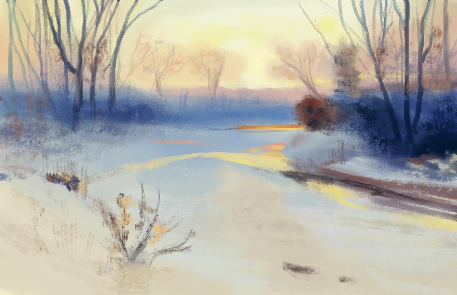 Charles Partridge Adams: Snowy Sunset - Study