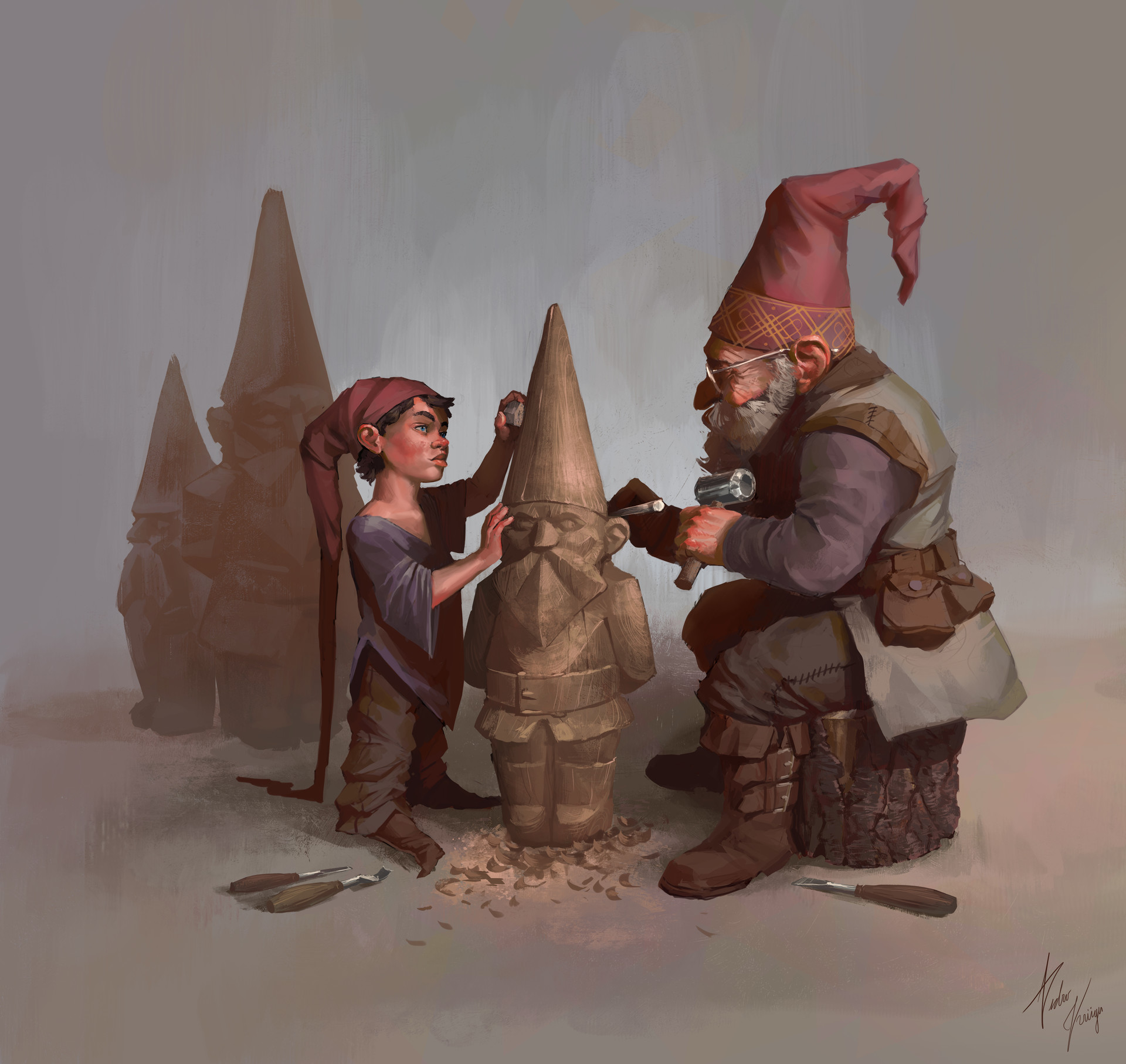 Pedro kruger garcia gnomes sculpting