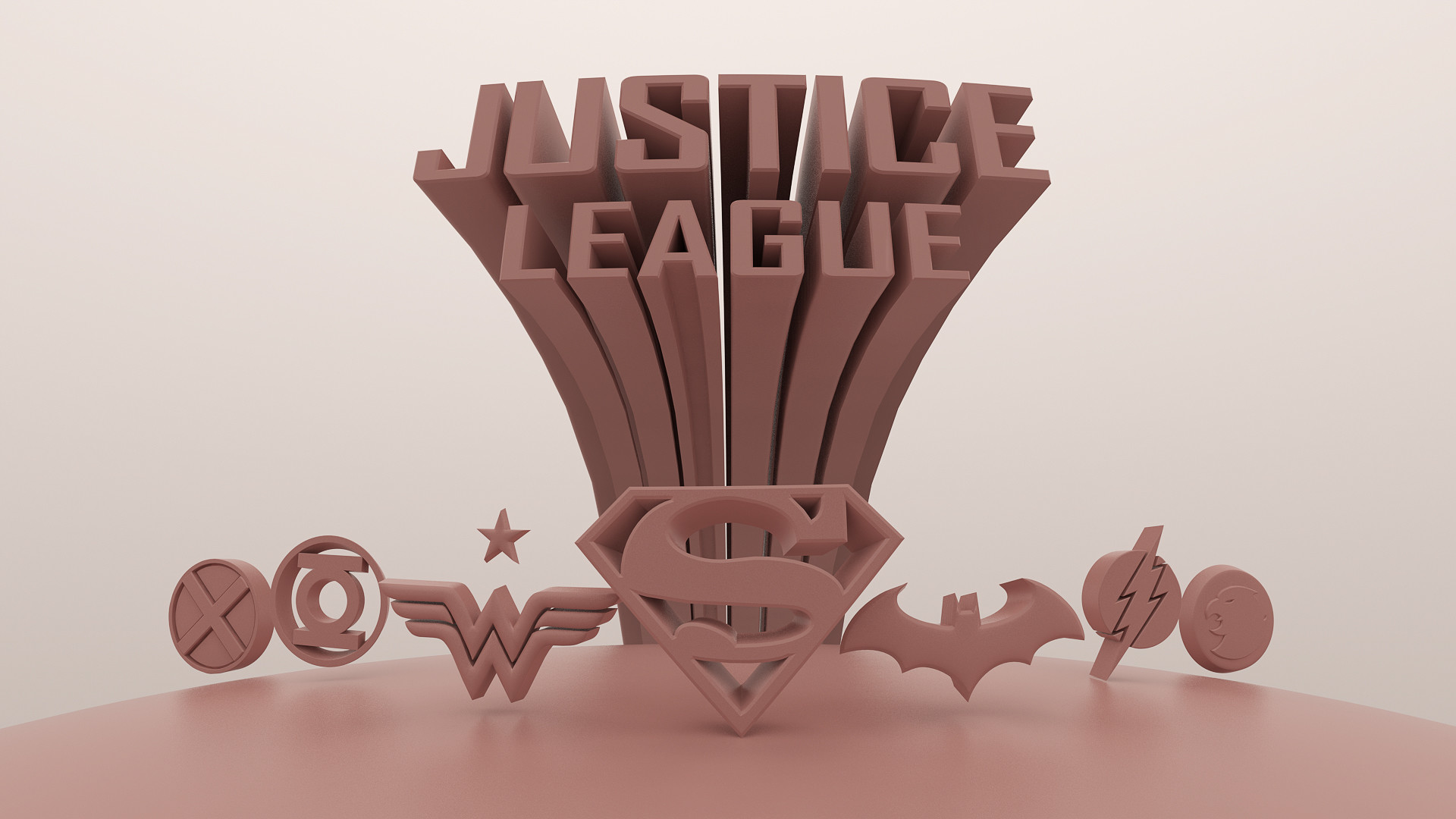Justice League Title in 3D Clay