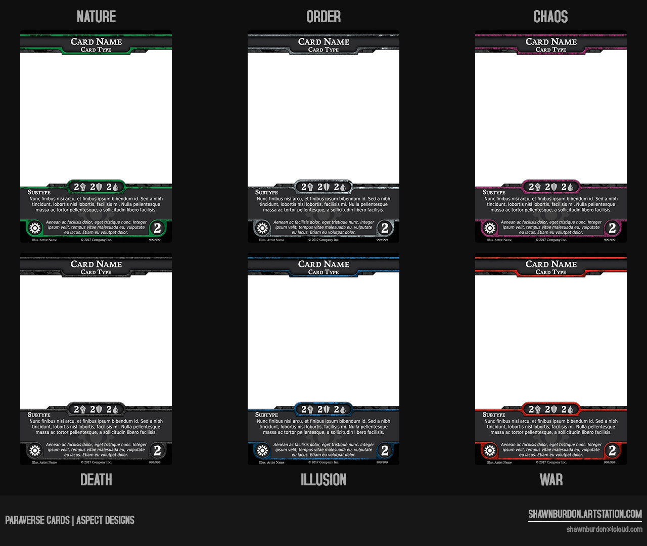 Template design for the six playable factions