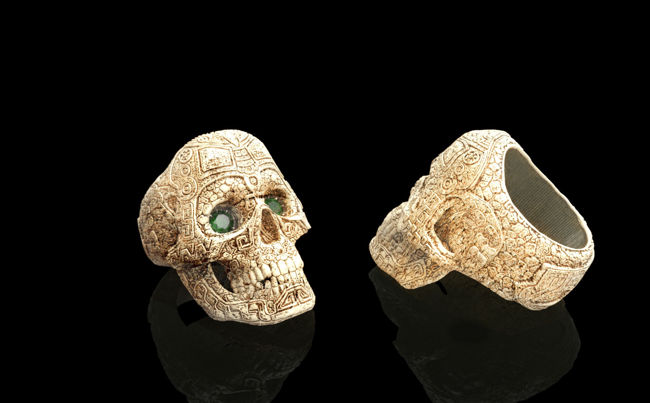 Artstation Carved Bone Skull Ring Mauro Corso