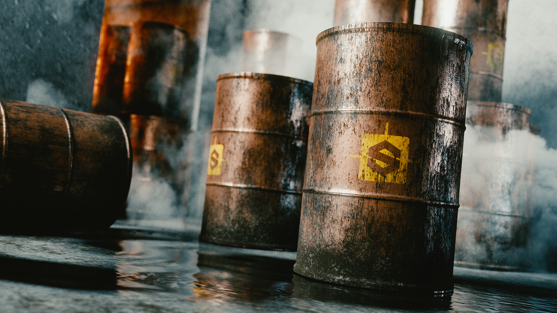 Grimy Barrel Scene (courtesy BlenderBrit tutorial)