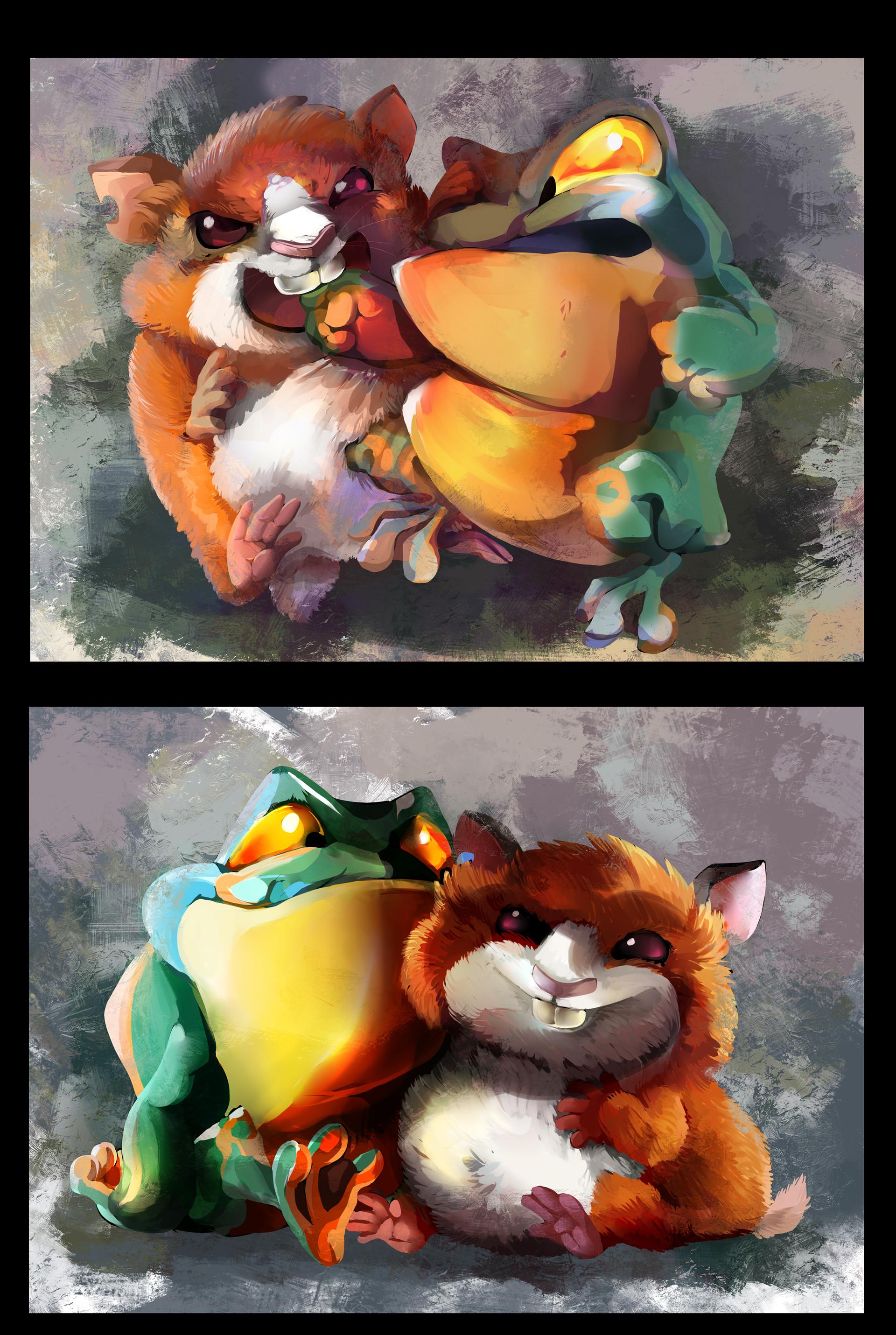 Картинка жабы и хомяка