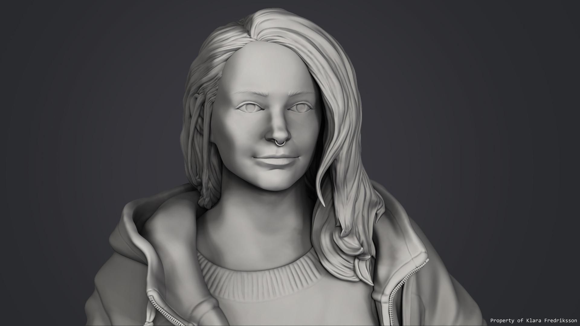 Klara fredriksson closeup grey