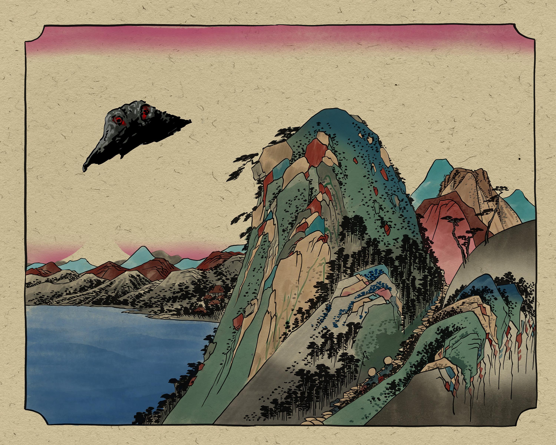 """Woodcut style Kaiju print Based on the Japanese woodcut """"Hakone, kosui no zu"""" by Utagawa Hiroshige."""