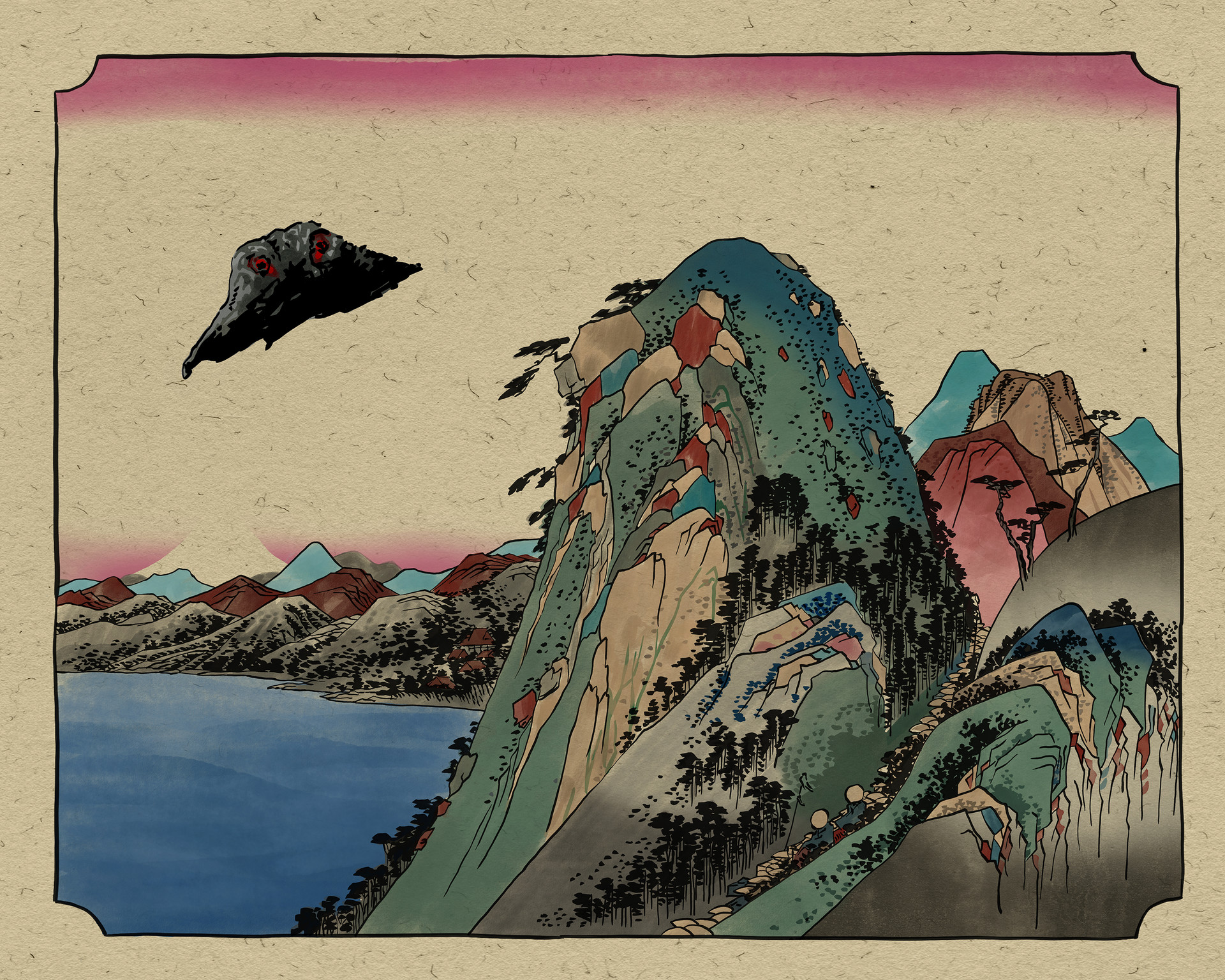Woodcut style Kaiju print