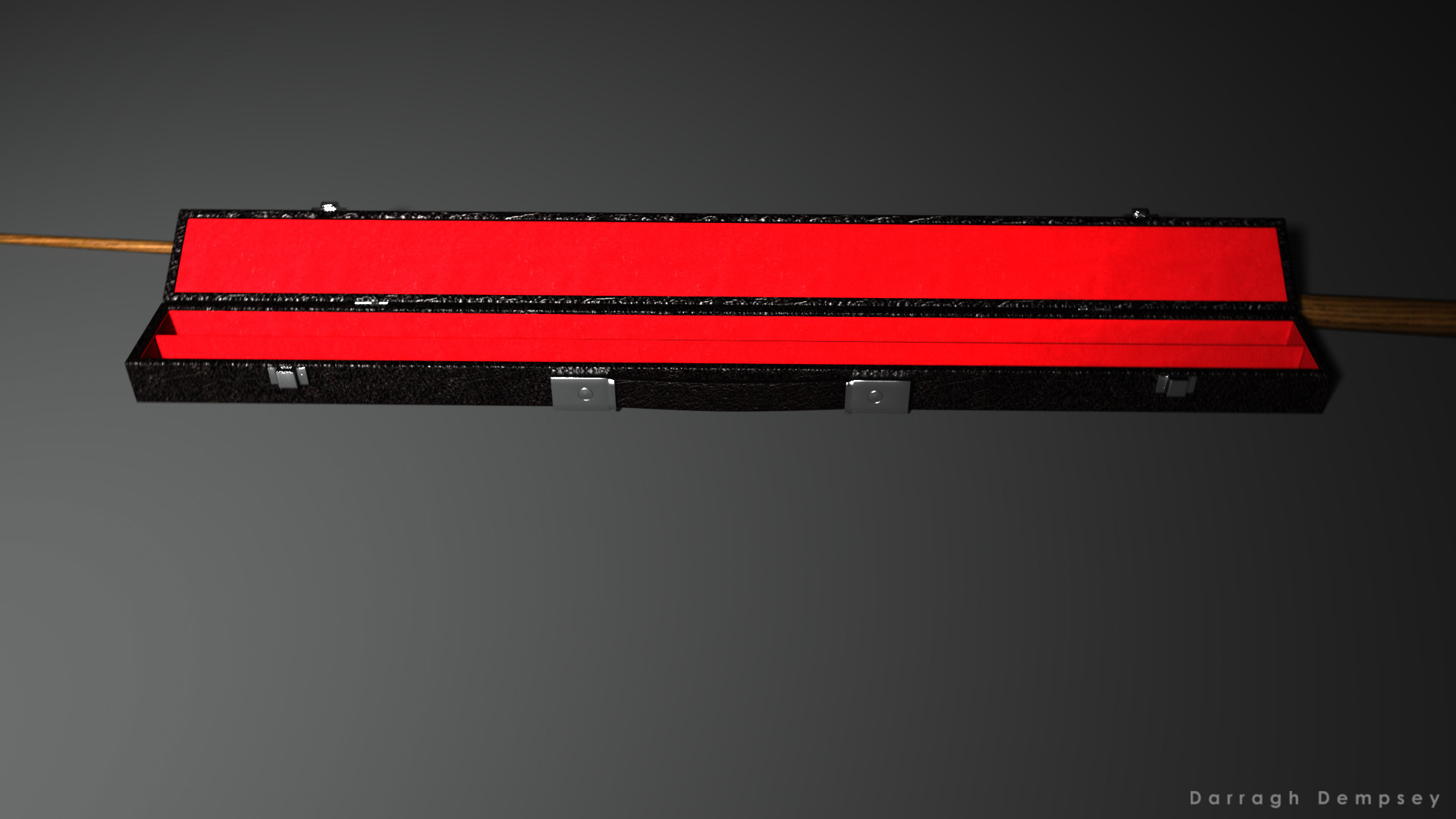 Pool cue and case (textured) low_poly. Opened.