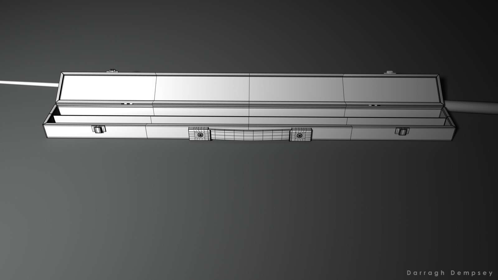 Pool cue and case (wireframe) low_poly. Opened.