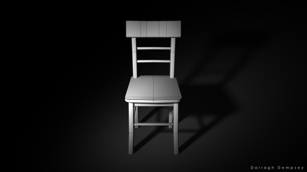 Dining chair asset (wireframe) low_poly. Centered.