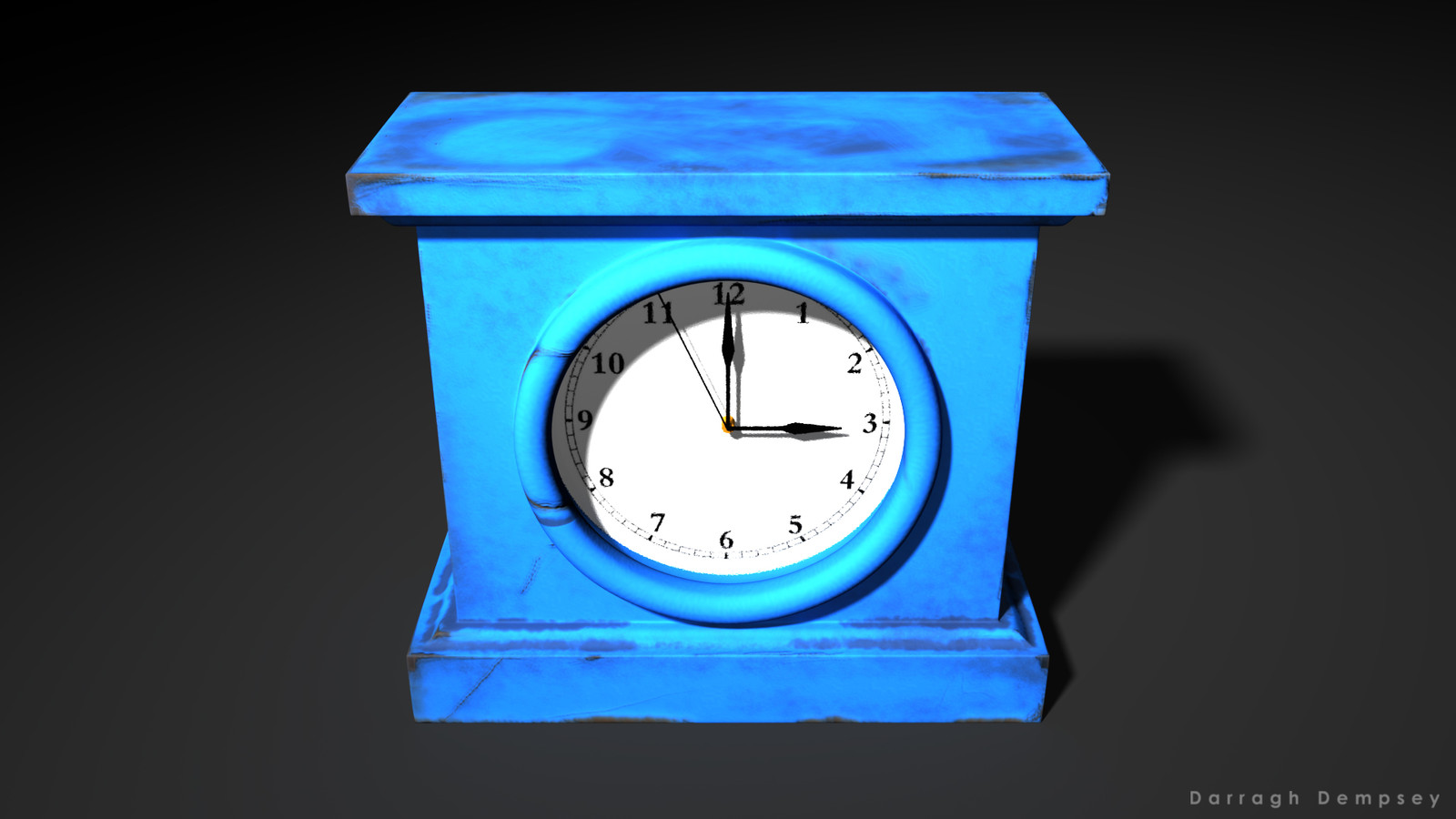 Clock asset (textured) low-poly. Centered.
