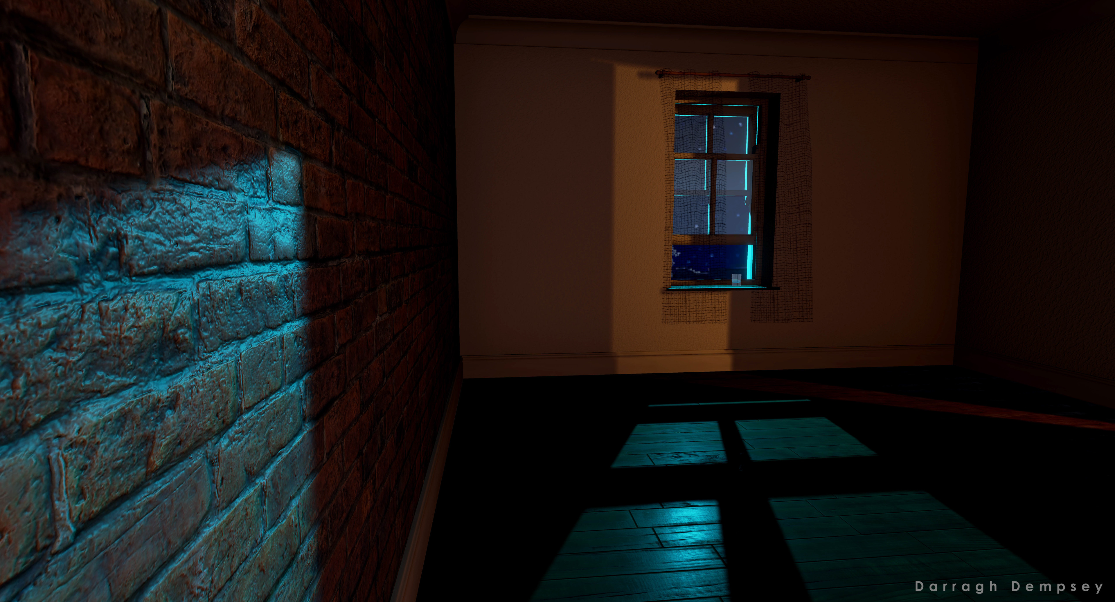 Unreal Engine screenshot. Moonlight through sash window. Light spill from door.