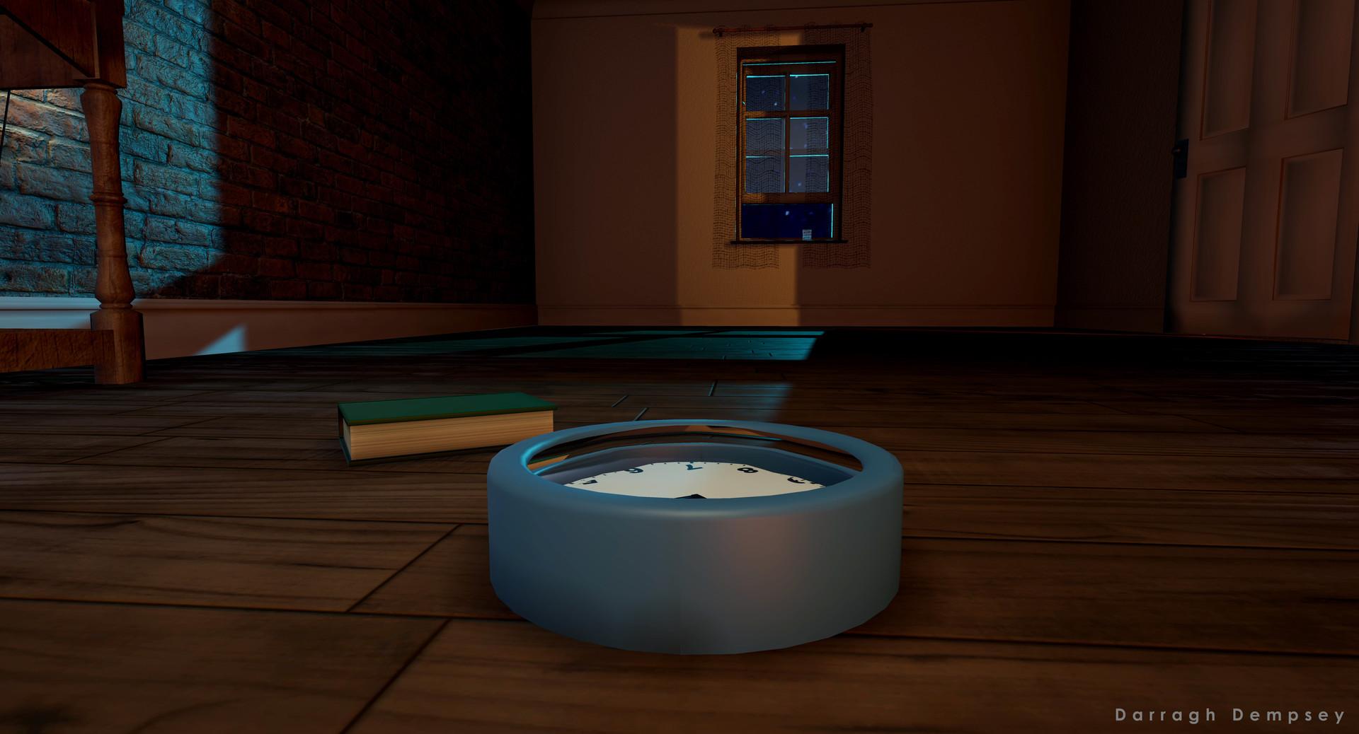 Clock and book. Unreal Engine screenshot.