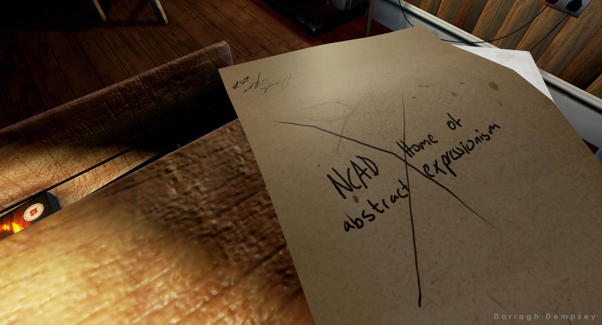 Upside down note easter egg. Unreal Engine Screenshot.