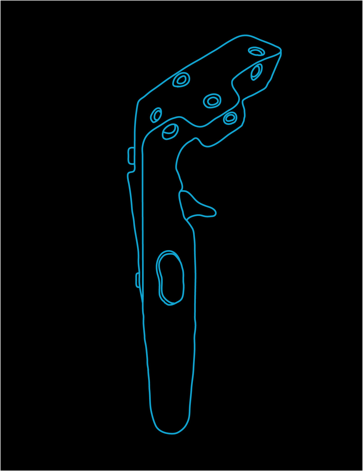 HTC Vive Controller Vector Art (Side) created in Adobe Illustrator