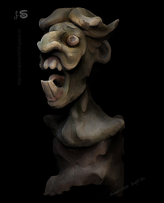 #doodle   My pre Halloween mood. ...quick unfinished sculpt in my break time  :)  Wish to share  :)  Played with brushes  :)