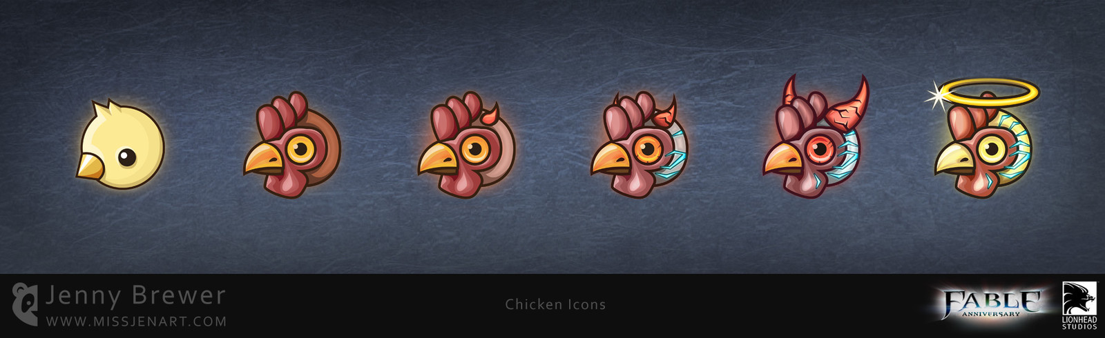 Some extra icons were required for the PC release of the game, these chicken themed icons were used as badges on the Steam platform.