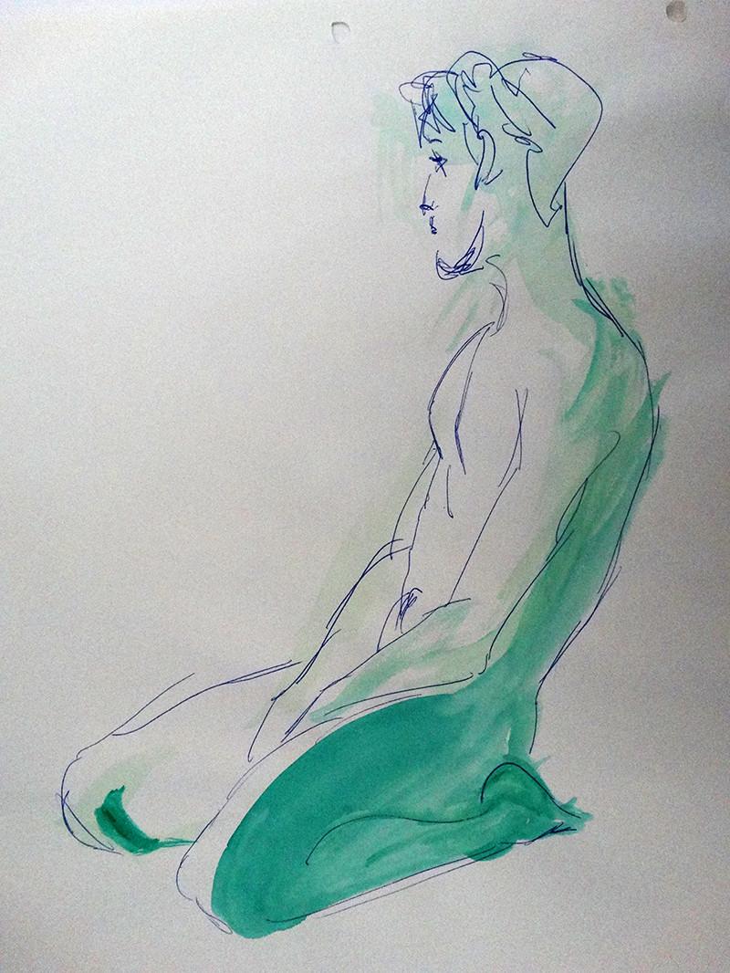 Watercolor & blue pen