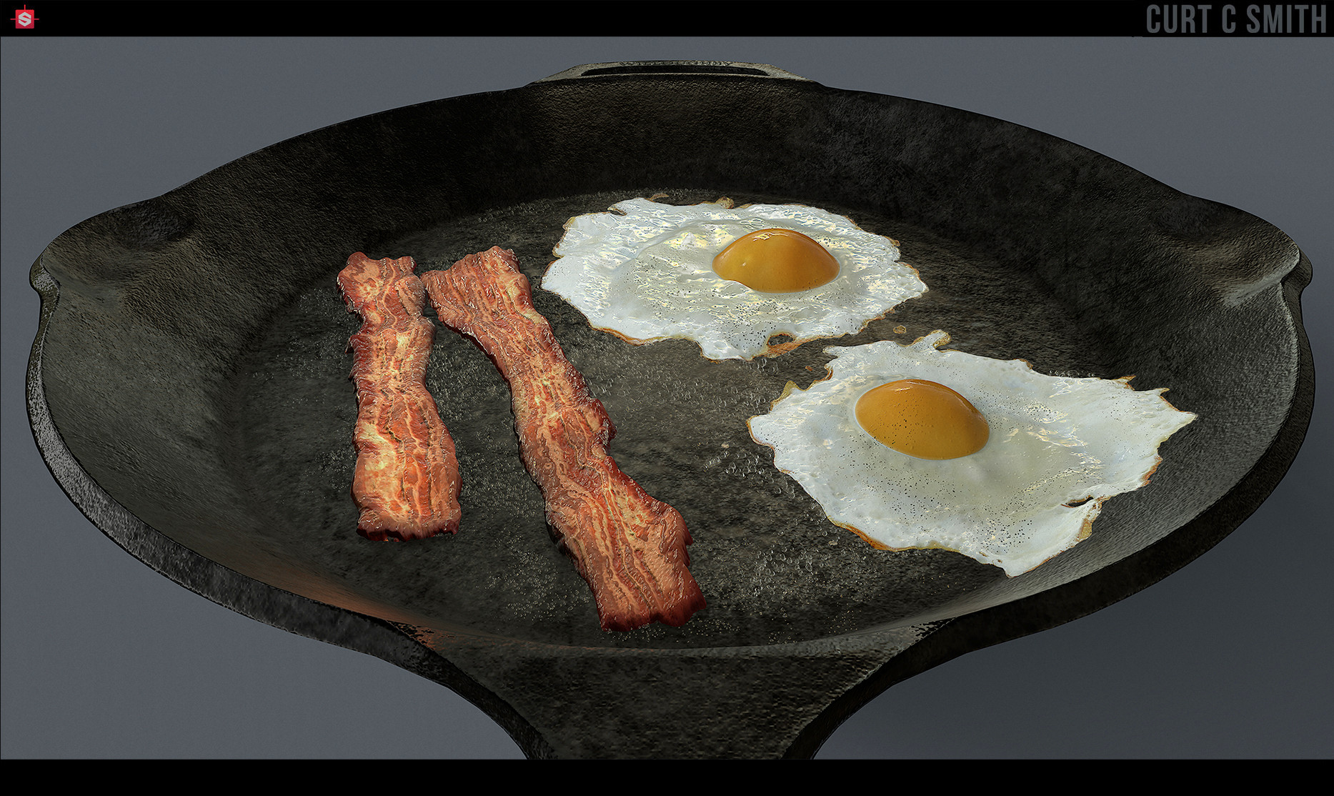 eggs and bacon are displaced from a plane.