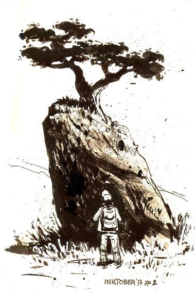 Tree, rock, man