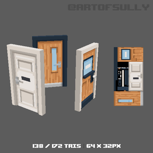 3D Pixel-Art Office Doors (Commission)