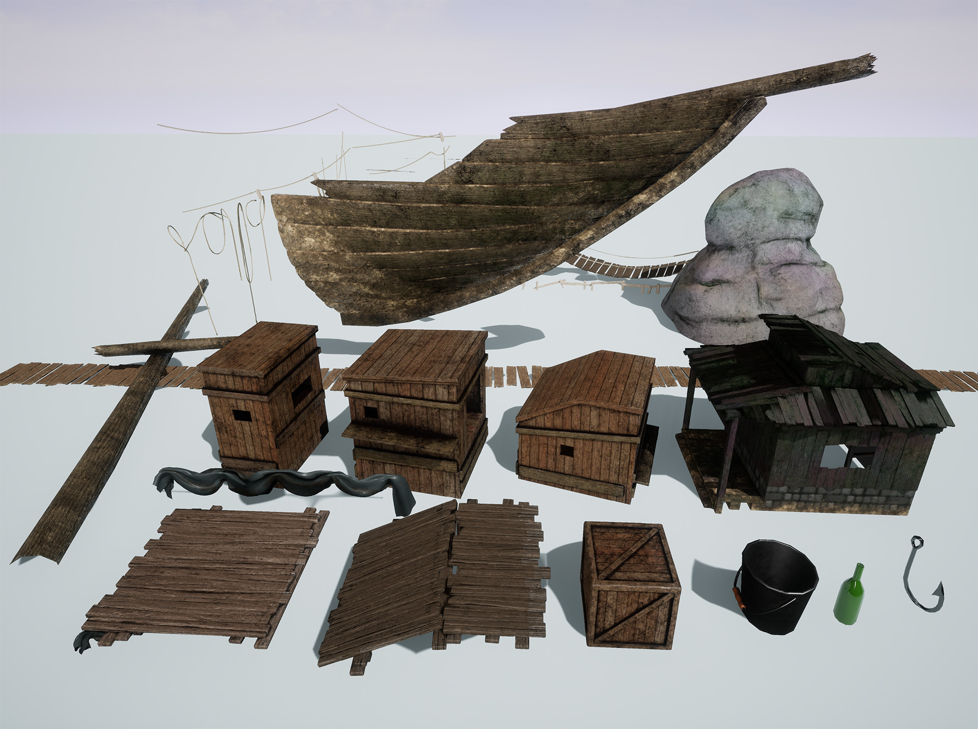 Most of the props used in the scene
