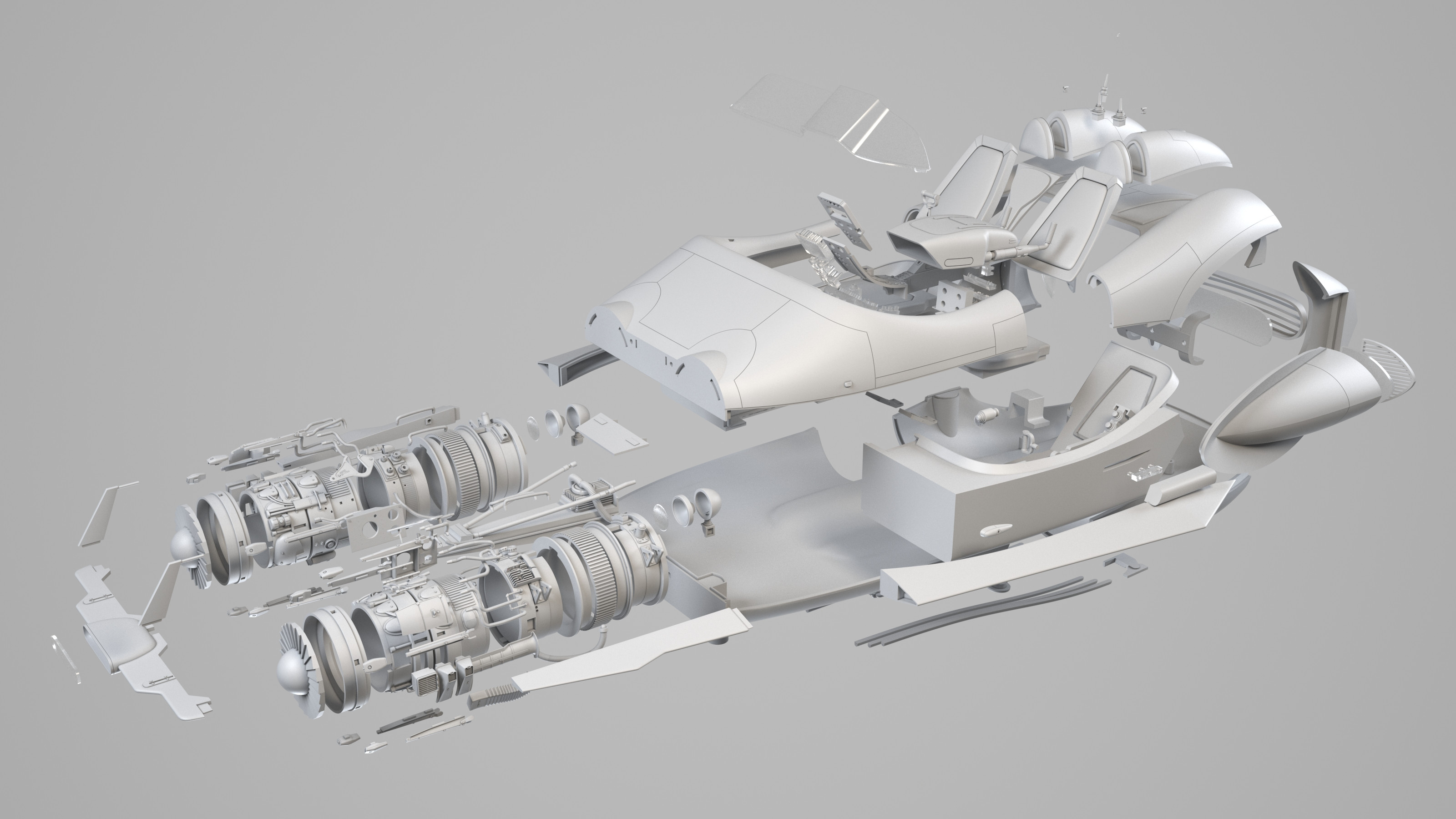 Exploded view of the 3D parts, 202 parts