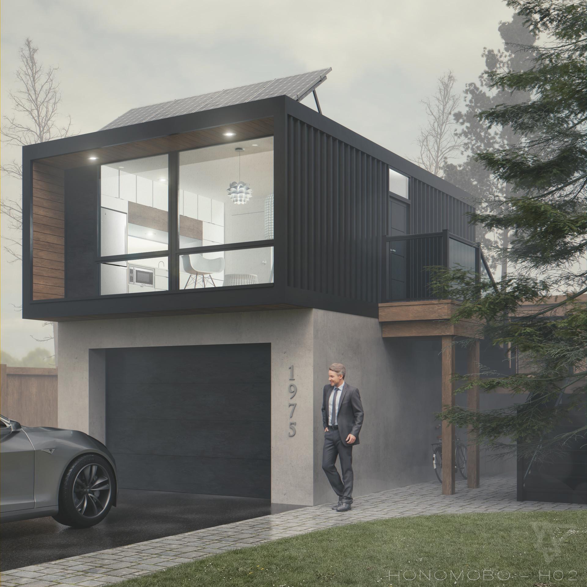 Modern Shipping Container Home artstation - h02 exterior interpretation - honomobo modern