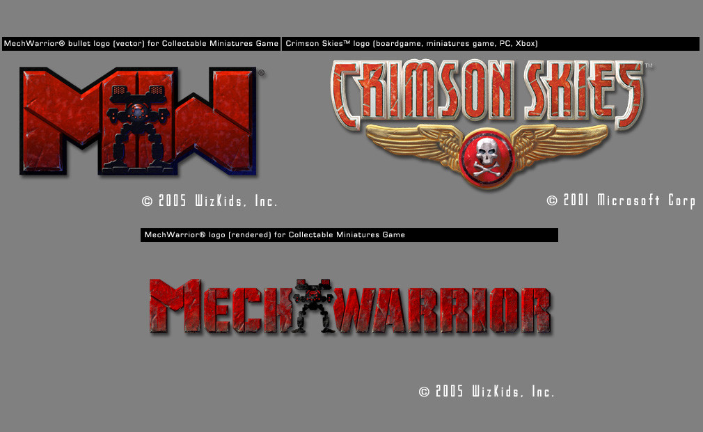 Logos for Mech Warrior and Crimson Skies