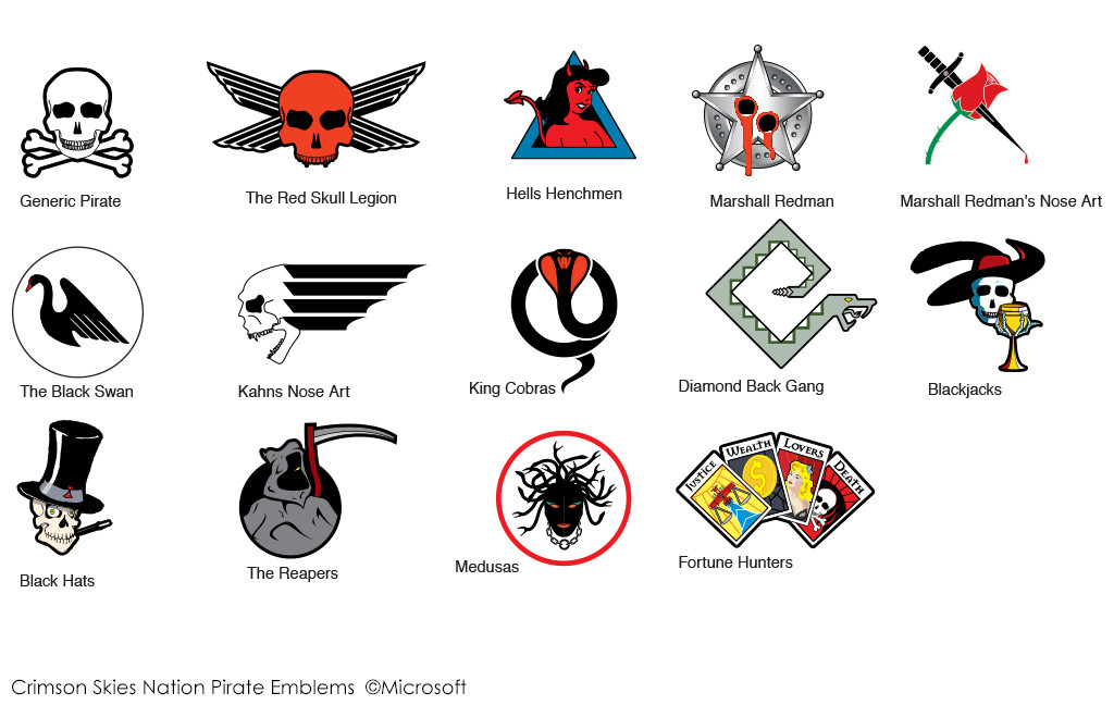 Pirate emblems for the Crimson Skies Universe