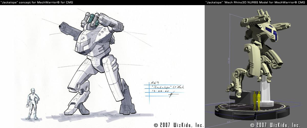 """Jackalope"" Mech concept with final 3D for Mech Warrior Property"