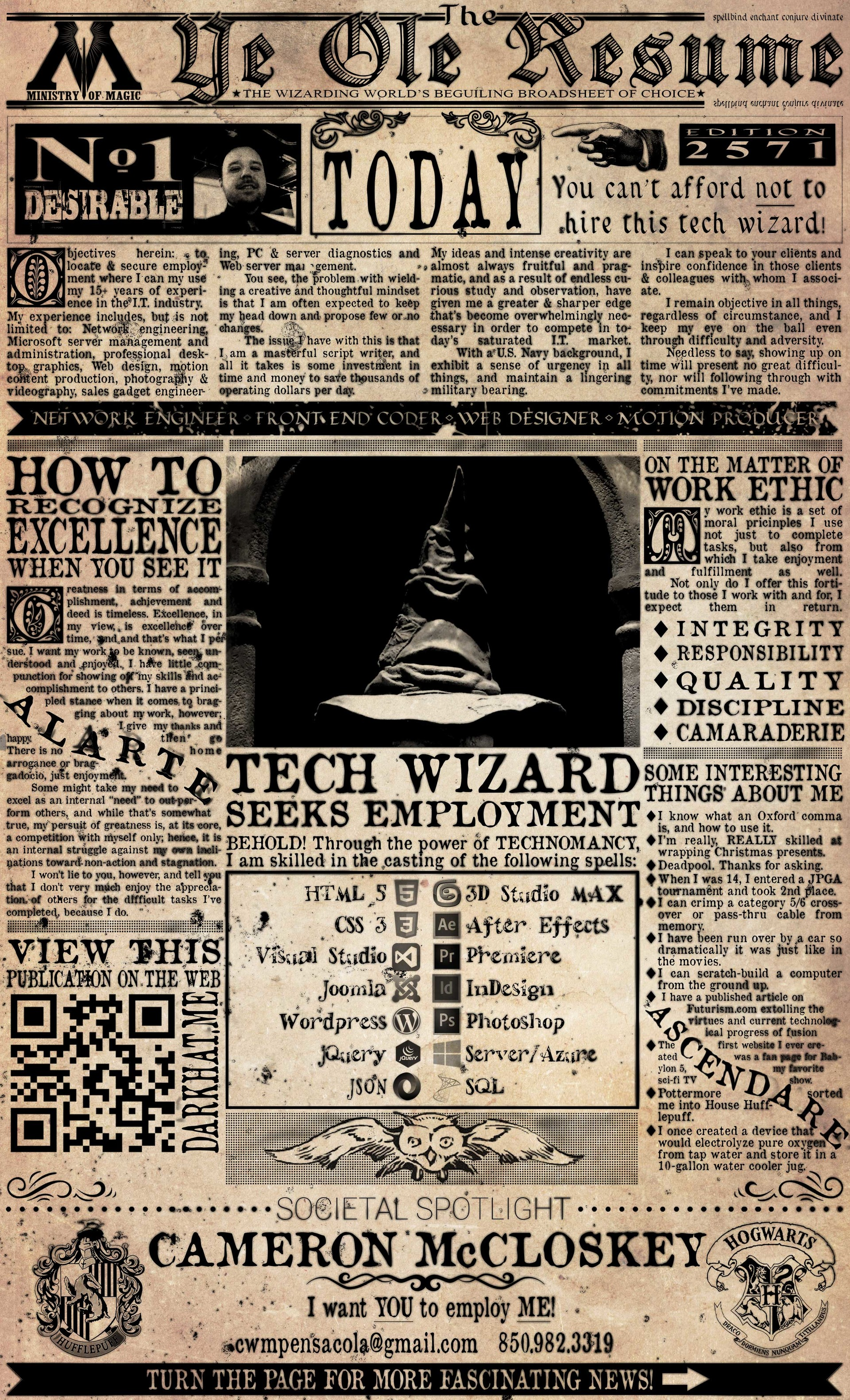Harry Potter Themed Resume  Harry Potter Resume