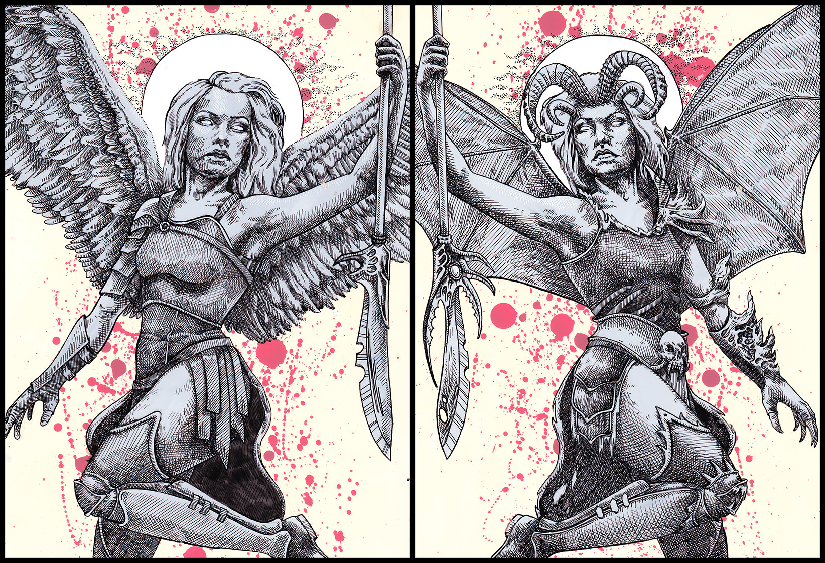 Two individual pieces come together to form the entire picture, highlighting the fact that good and evil are mirror images of each other.