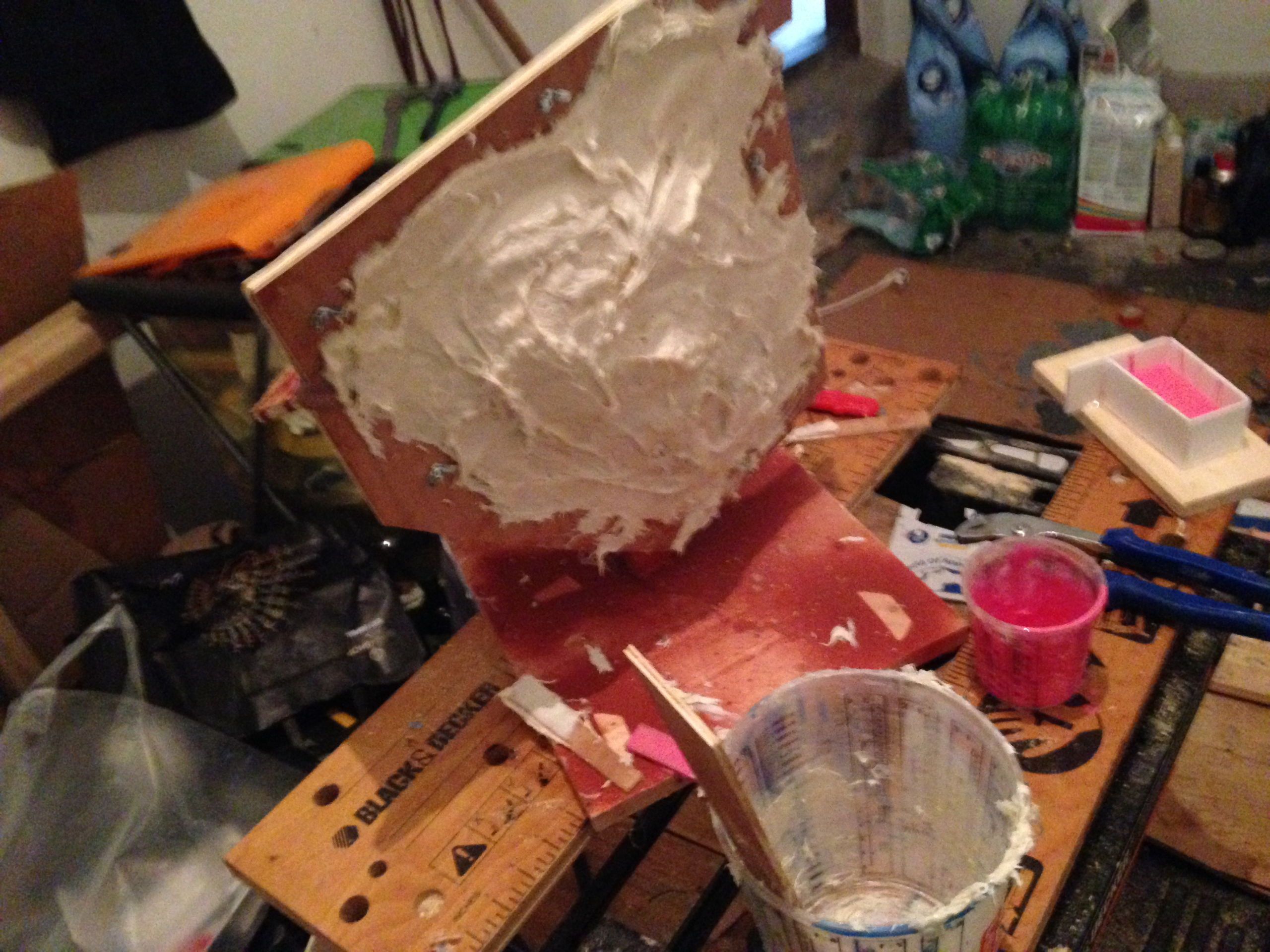 Making the mother mold, the hard shell that goes around the silicone mold, to keep its shape once emptied