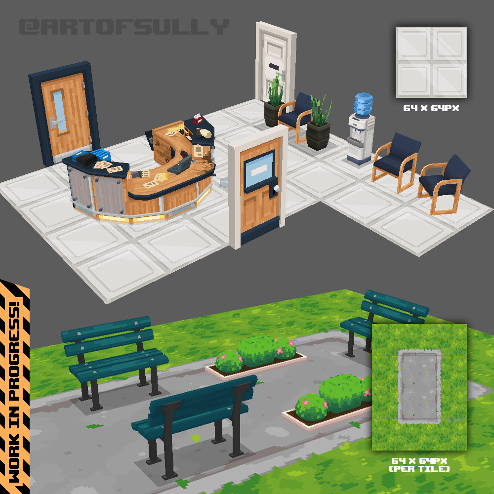 3D Pixel-Art Office / Park Scenes (WIP Test Scenes)