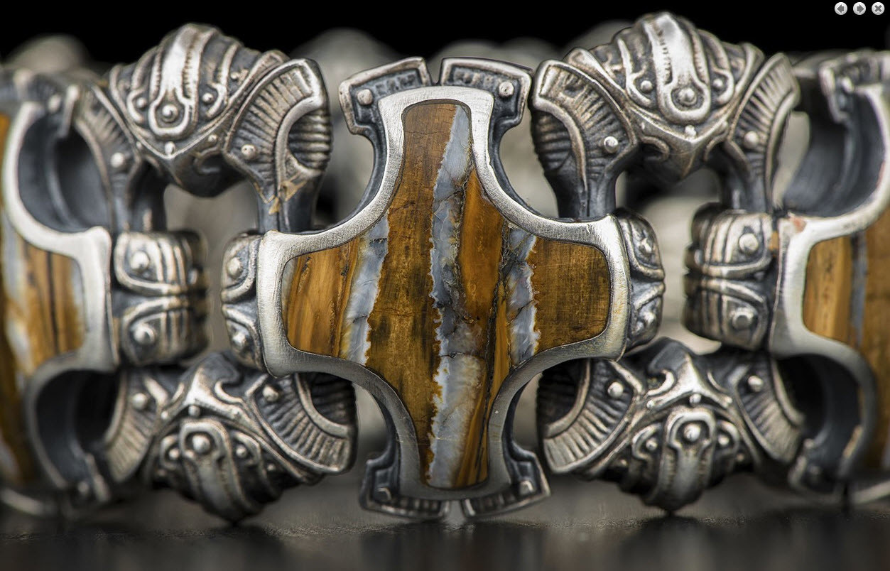 William Henry - Large silver bracelet with inlays