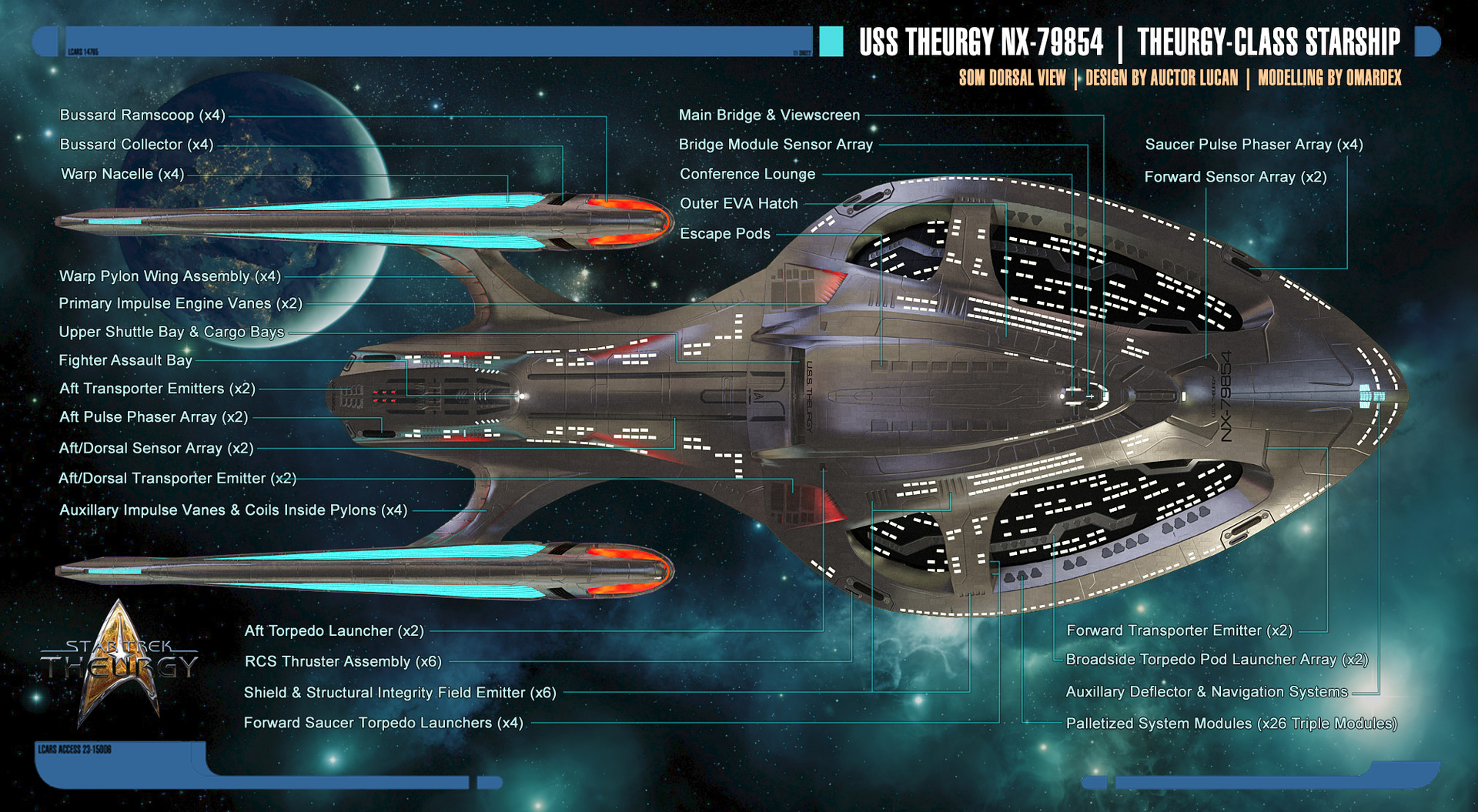 Auctor Lucan Theurgy Class Starship Schematics Aviation Engineering Dorsal View