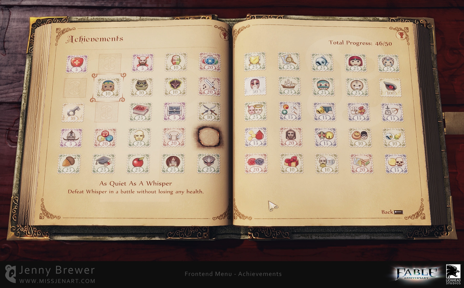 Many Achievements have an either/or element to them, whichever choice the player makes will show the stamp image that is relevant to their actions in the game.