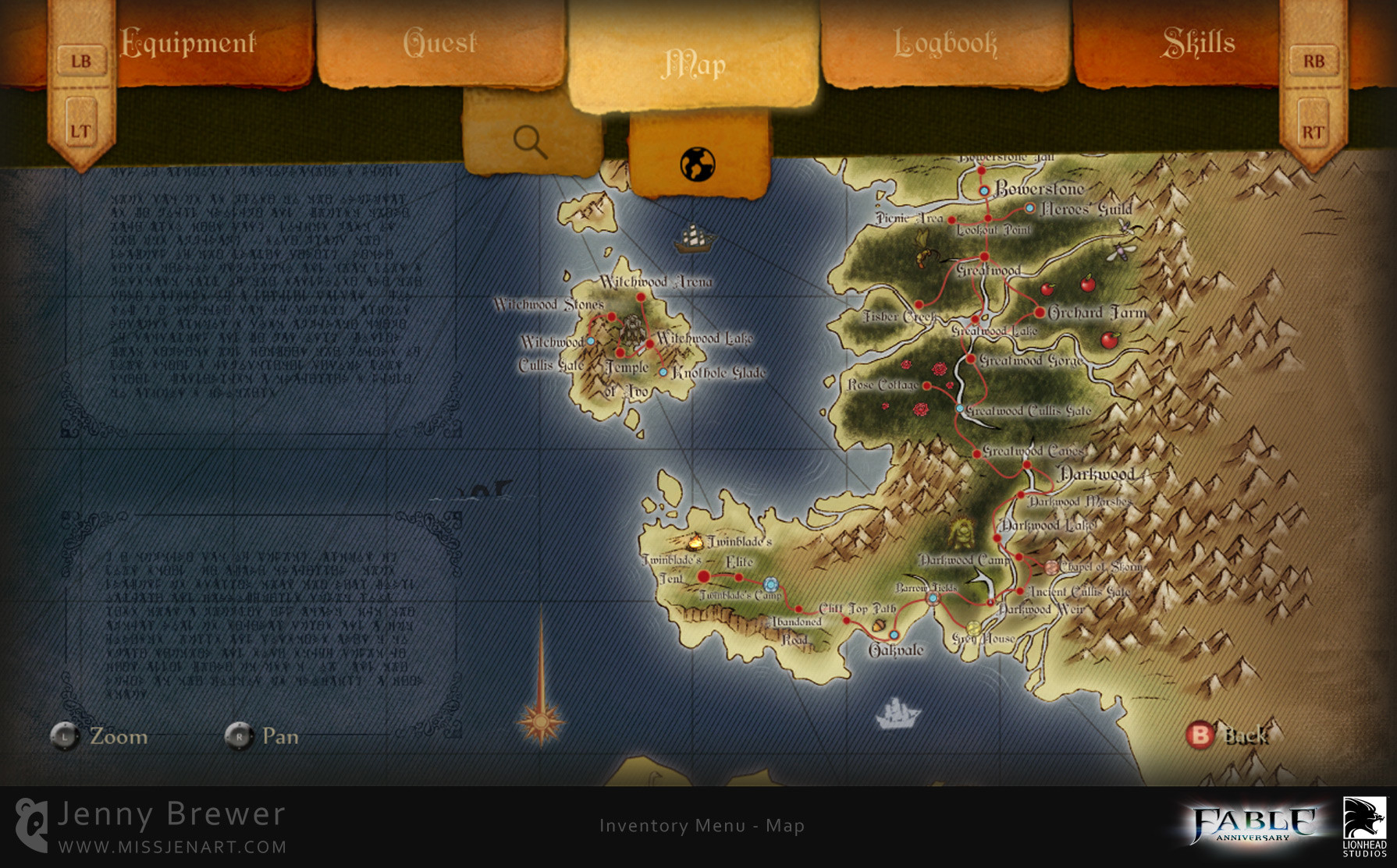 A new full screen world map view has also been added, allowing players to zoom in and pan around to explore every fine detail as well as utilising it for loading screens. It was important to me that the map should become more of a feature, animations and