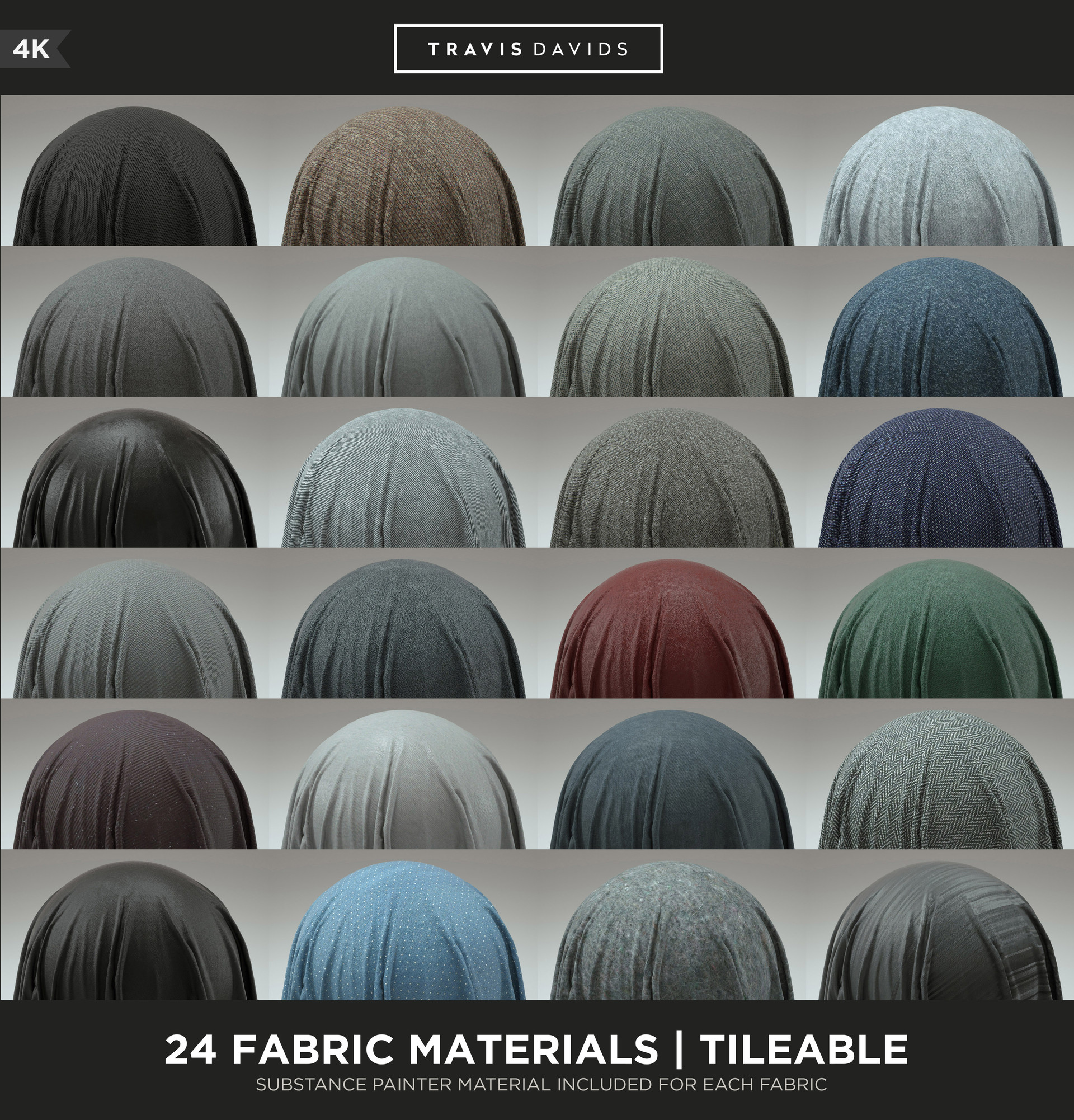 ArtStation - 24 FABRIC MATERIALS - 4K - TILEABLE - SUBSTANCE