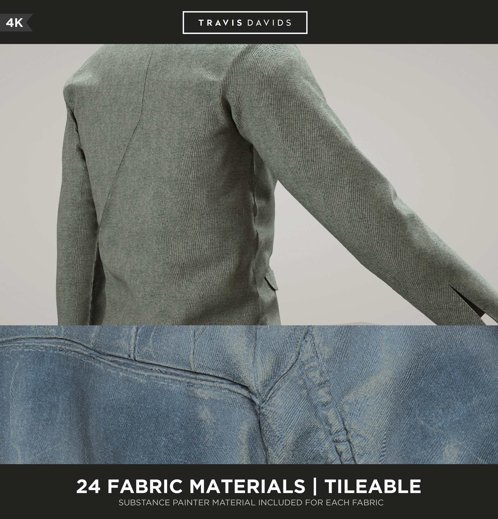 ArtStation - 24 FABRIC MATERIALS - 4K - TILEABLE - SUBSTANCE PAINTER