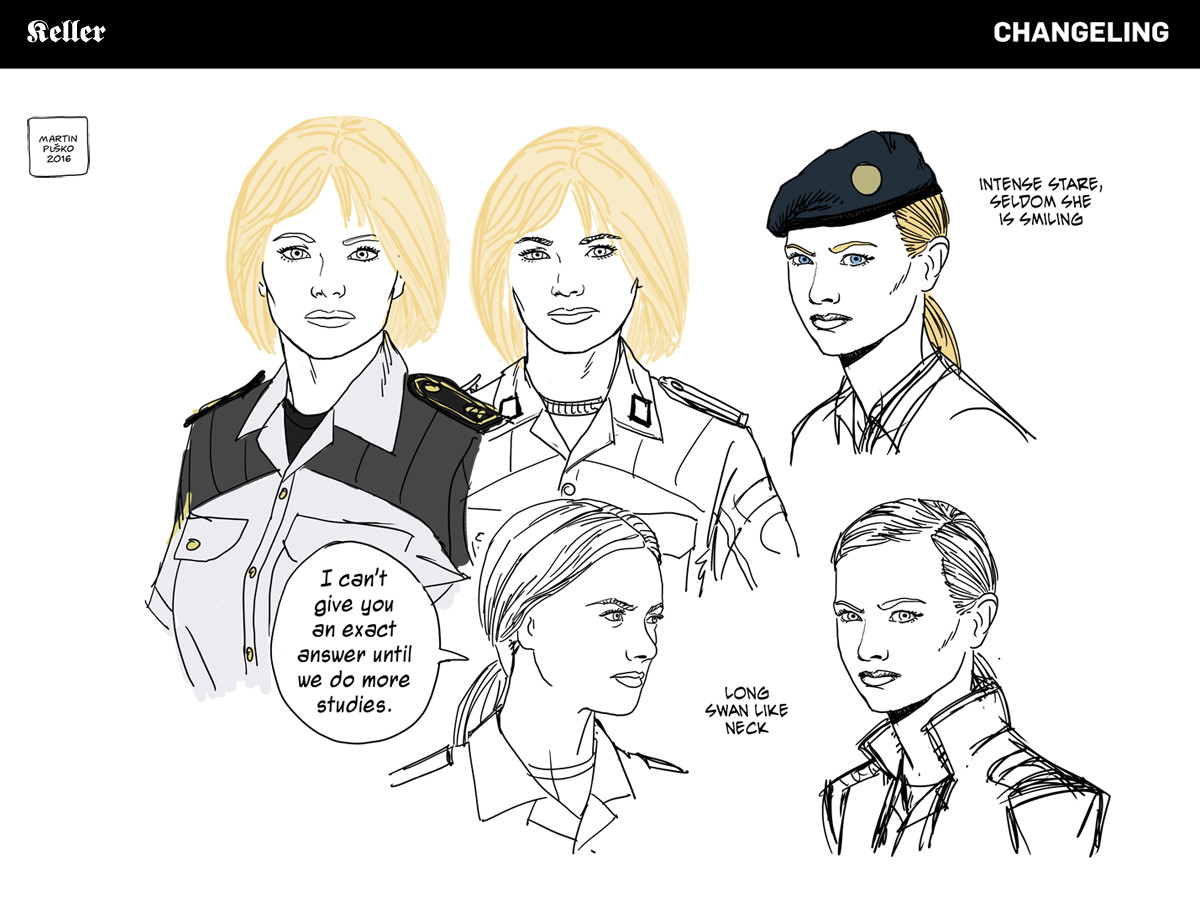 Captain Rosa Keller, Hauptmann, expressions study.